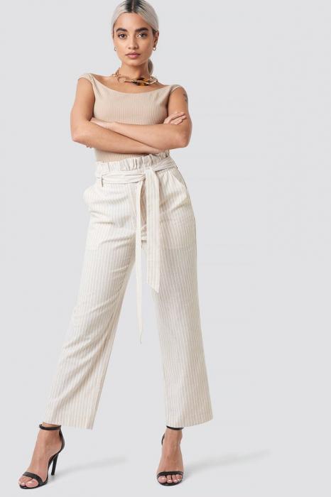 Pantaloni Paper Waist Striped [0]
