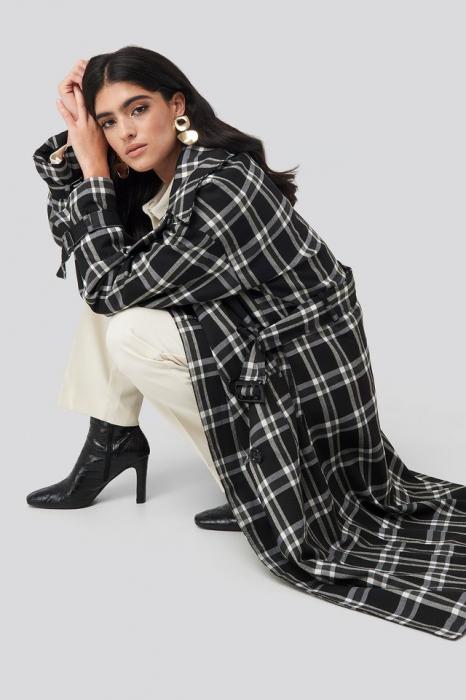 Palton Plaid Oversized Belted Coat [1]