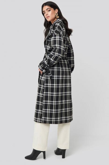 Palton Plaid Oversized Belted Coat [2]