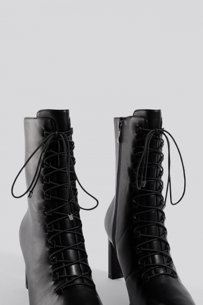 Botine Pointy Lace Up Booties [5]
