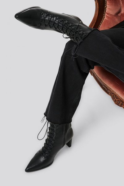 Botine Pointy Lace Up Booties [7]