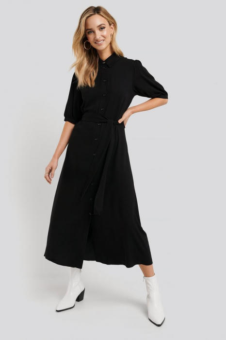 Rochie Puff Sleeve Belted Midi [0]