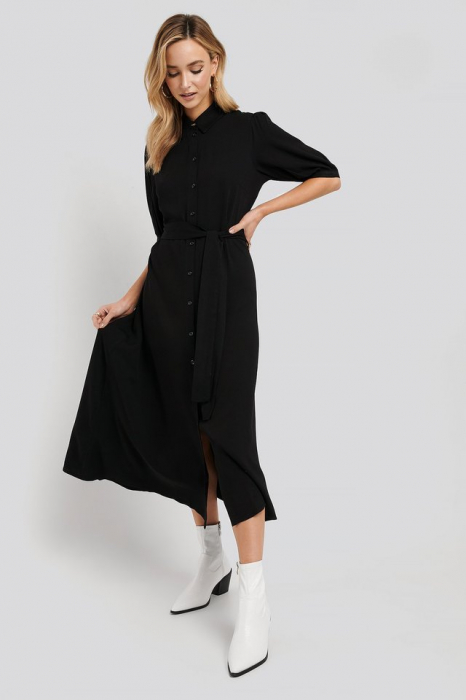 Rochie Puff Sleeve Belted Midi [2]