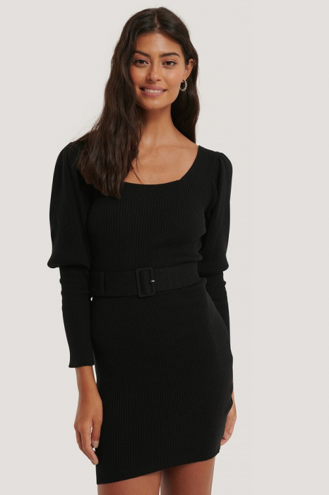 Rochie Puff Sleeve Knitted Dress [0]