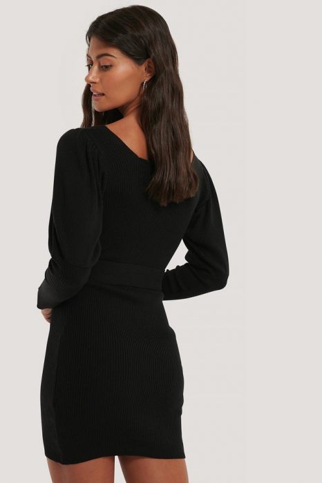 Rochie Puff Sleeve Knitted Dress [1]
