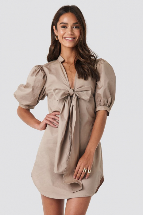 Rochie Puff Sleeve Tied Front Short 0