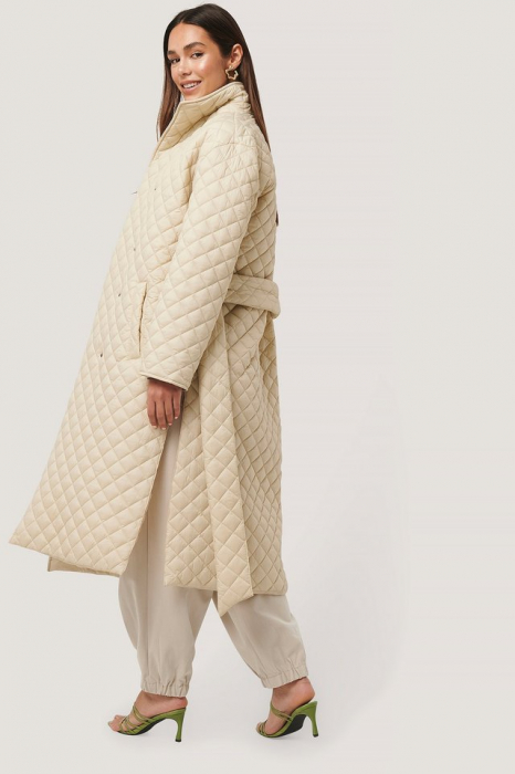 Overisized Quilted Long Jacket NA-KD Trend, Beige [2]