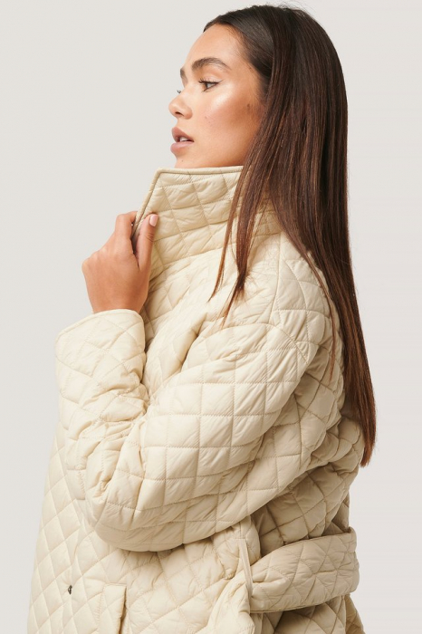 Overisized Quilted Long Jacket NA-KD Trend, Beige [4]