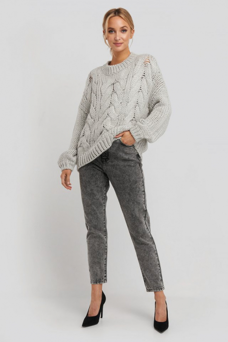 Pulover Wool Blend Round Neck Heavy Knitted Cable 3