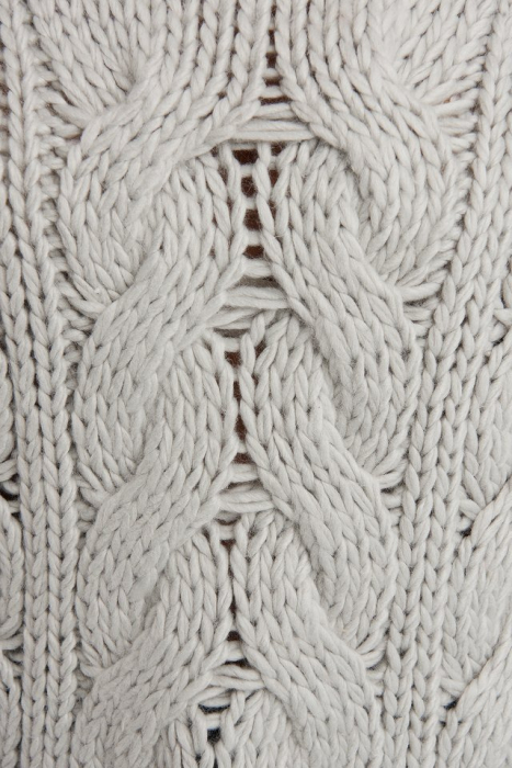 Pulover Wool Blend Round Neck Heavy Knitted Cable 4