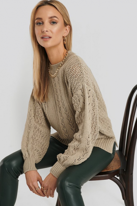 Round Neck Pointelle Sweater NA-KD, Beige 0