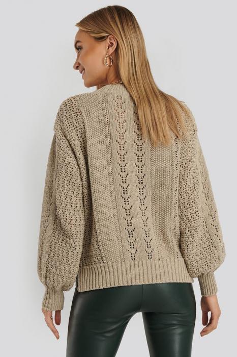 Round Neck Pointelle Sweater NA-KD, Beige 2