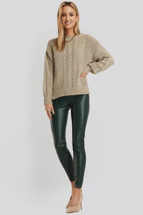 Round Neck Pointelle Sweater NA-KD, Beige 1