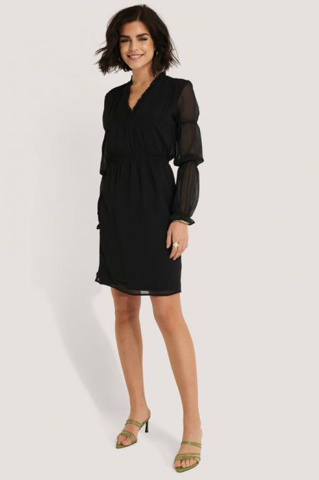 Rochie Ruched Long Sleeve 0