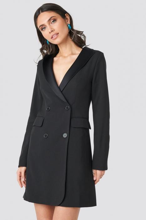 Satin Collar Blazer Dress [0]