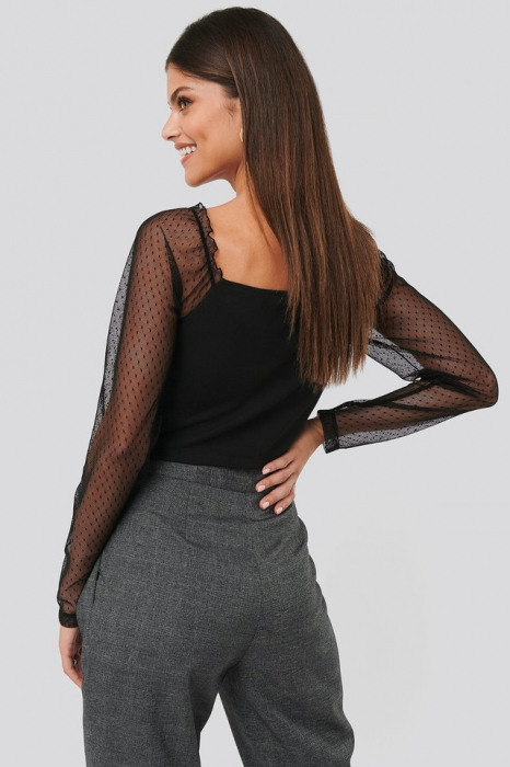 Bluza Sheer Contrast Sleeve Square Neck Top [1]