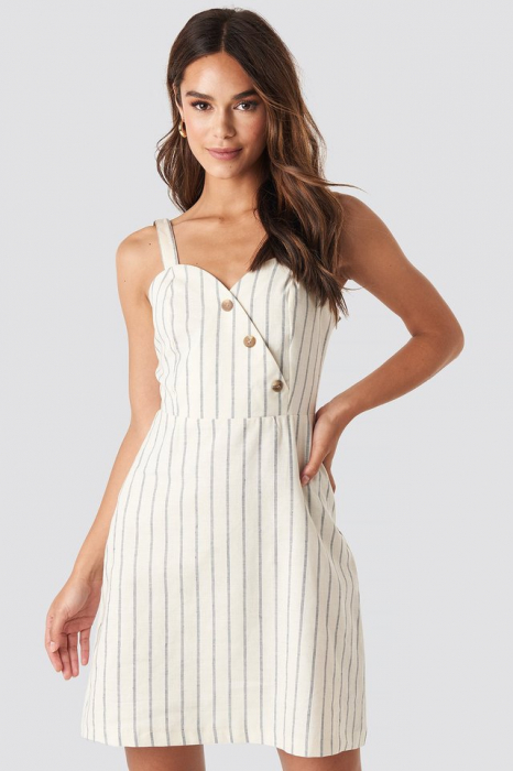 Rochie Striped Linen-Blend [0]