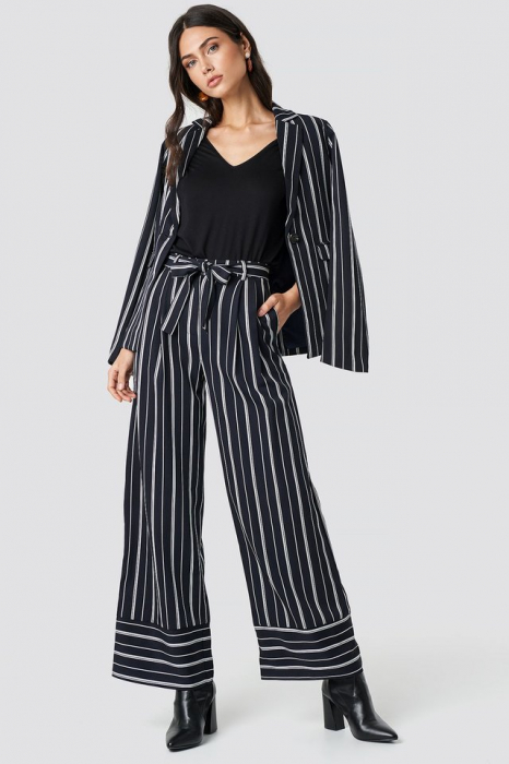 Pantaloni Tie Waist Striped Wide 0