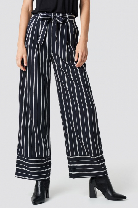Pantaloni Tie Waist Striped Wide [1]