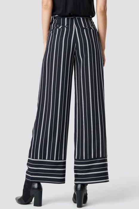 Pantaloni Tie Waist Striped Wide [2]