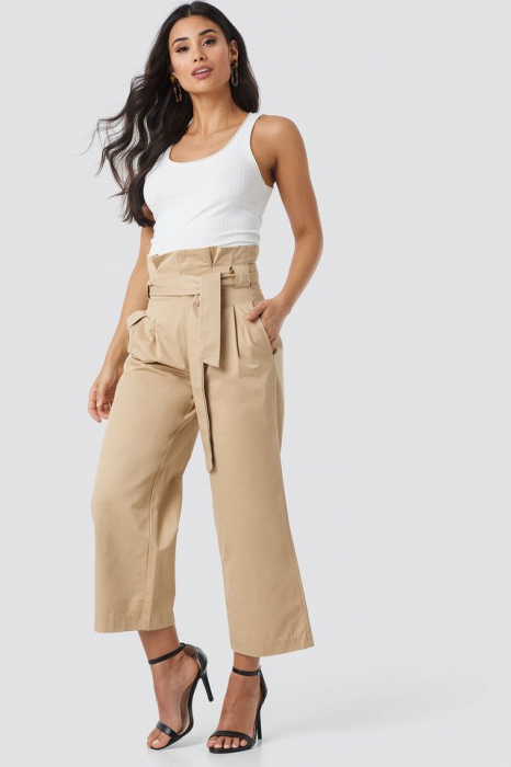 Pantaloni Tied Waist Wide Cotton Pants NA-KD Trend 0