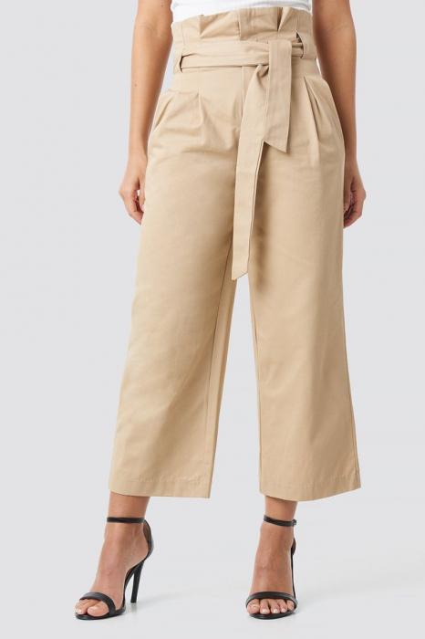 Pantaloni Tied Waist Wide Cotton Pants NA-KD Trend [1]