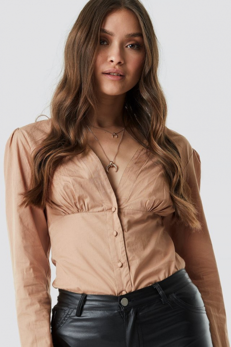 Top Bluza V-Neck Buttoned Front LS [0]