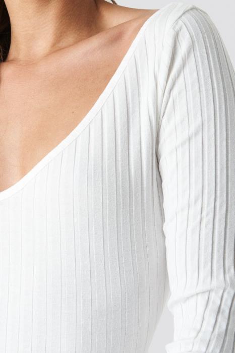 Bluza V-neck Ribbed Long Sleeve 3