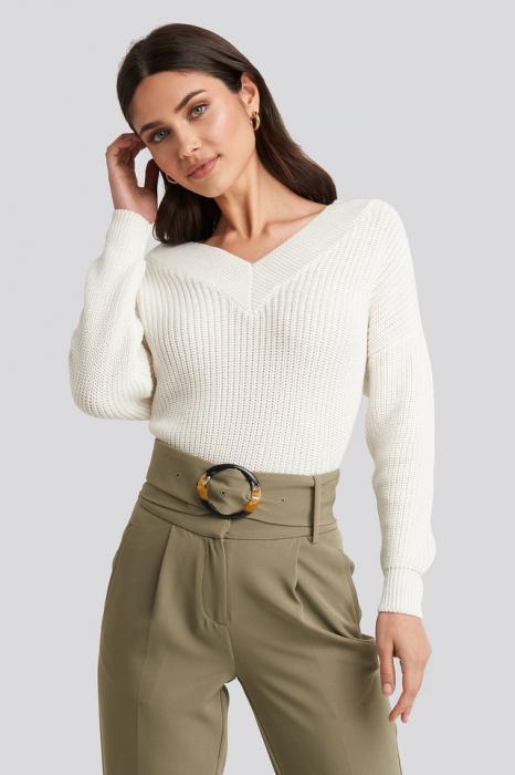 Pulover tricotat cu decolteu în V [0]