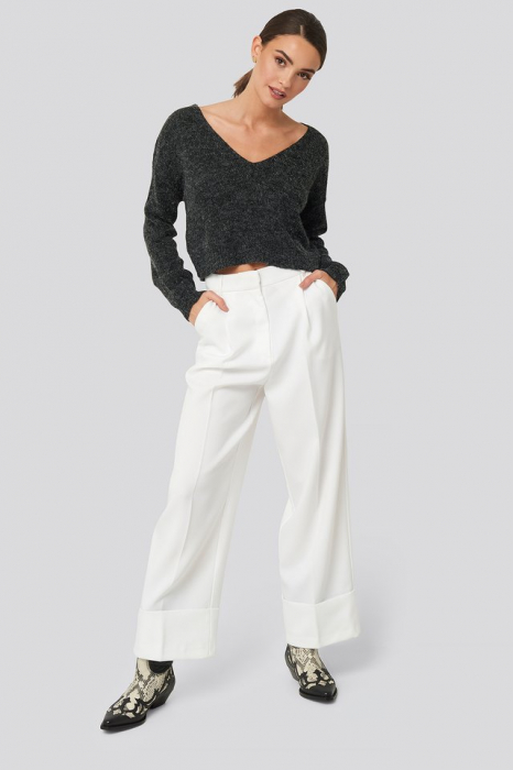 Pulover V-neck  Cropped Knitted 2