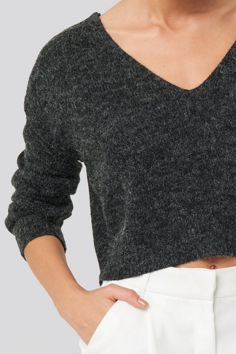 Pulover V-neck  Cropped Knitted [3]