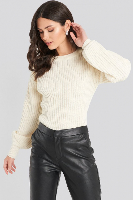 Pulover Wool Blend Ribbed Knitted 0