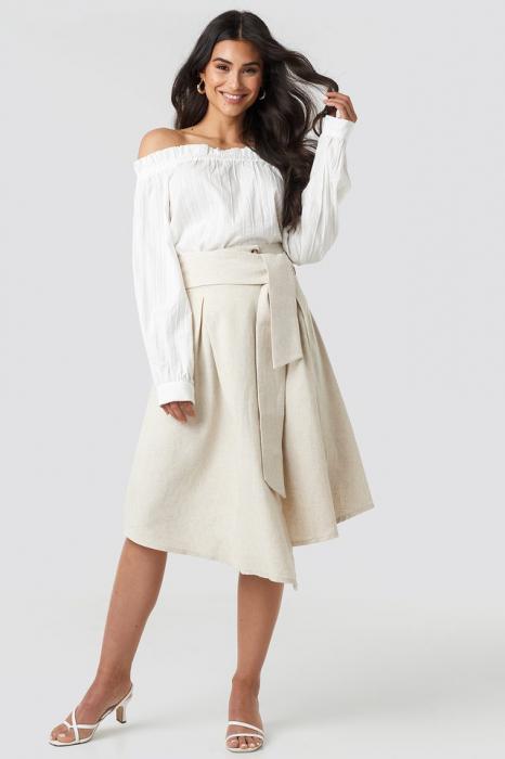 Fusta Wrap Over Linen Look 0