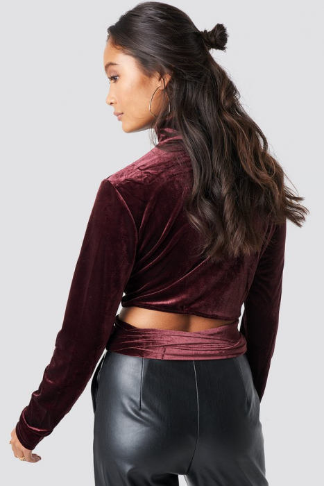 Bluza Wrap Waist Velvet Top [1]