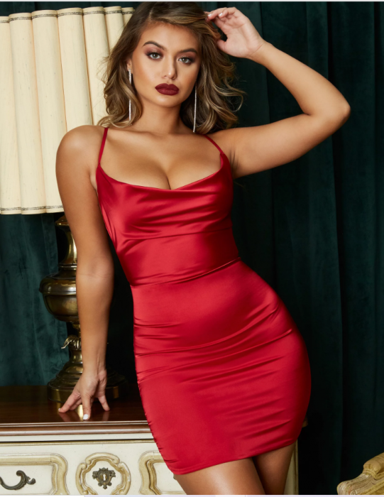 Rochie On The Prowl Strappy Cowl Neck Satin [2]