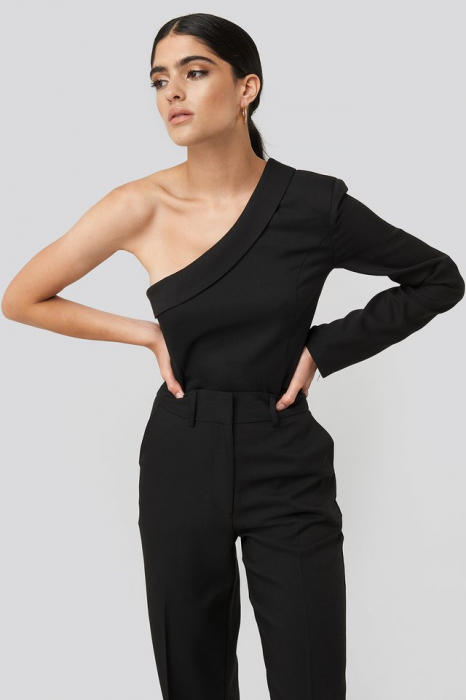 One Shoulder Shirt NA-KD Classic, Black 1