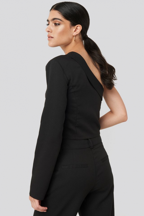 One Shoulder Shirt NA-KD Classic, Black 2