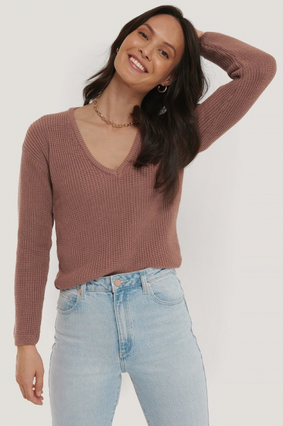 Pulover Deep Front V-neck Knitted 2