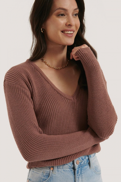 Pulover Deep Front V-neck Knitted 0