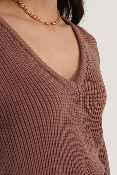 Pulover Deep Front V-neck Knitted 1