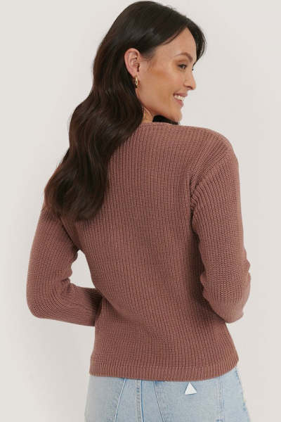 Pulover Deep Front V-neck Knitted 3