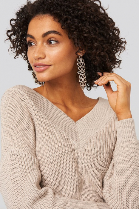 Pulover V-Neck Wide Rib Knitted 3