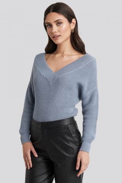 Pulover V-Neck Wide Rib Knitted 1