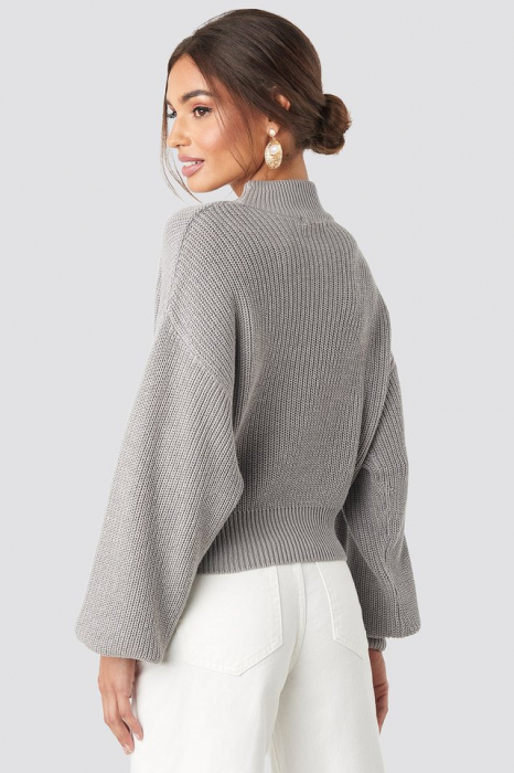 Pulover Volume Sleeve High Neck Knitted Sweater [1]