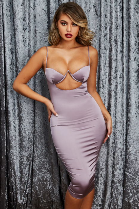 ROCHIE AHEAD OF THE CURVE SATIN CUT OUT MIDI 0