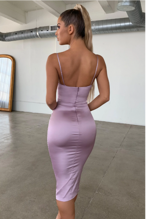 ROCHIE AHEAD OF THE CURVE SATIN CUT OUT MIDI 2