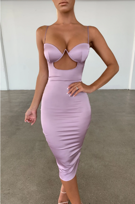 ROCHIE AHEAD OF THE CURVE SATIN CUT OUT MIDI 4