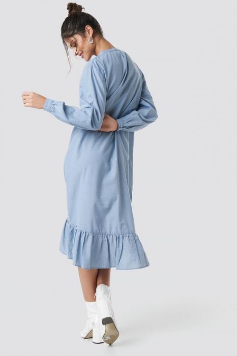 Rochie Buttoned Neckline Puff Sleeve 1