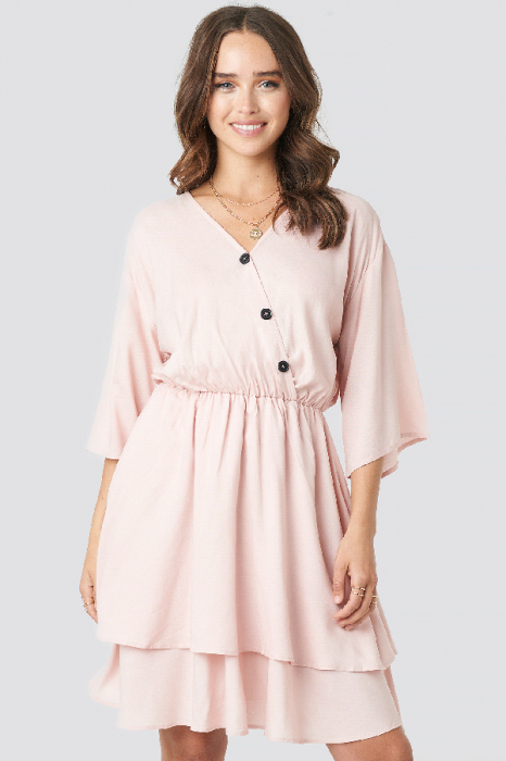 Rochie Contrast Button Layered 3