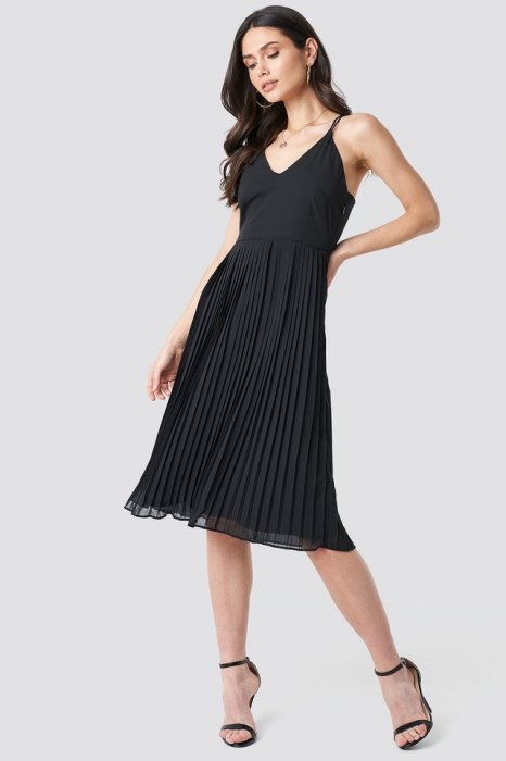 Rochie Cross Back Pleated Midi 0